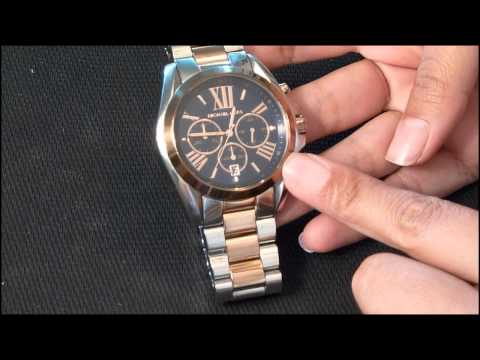 53edd041a0060 Michael Kors Chronograph Bradshaw Two Tone Stainless Steel watch review -  YouTube
