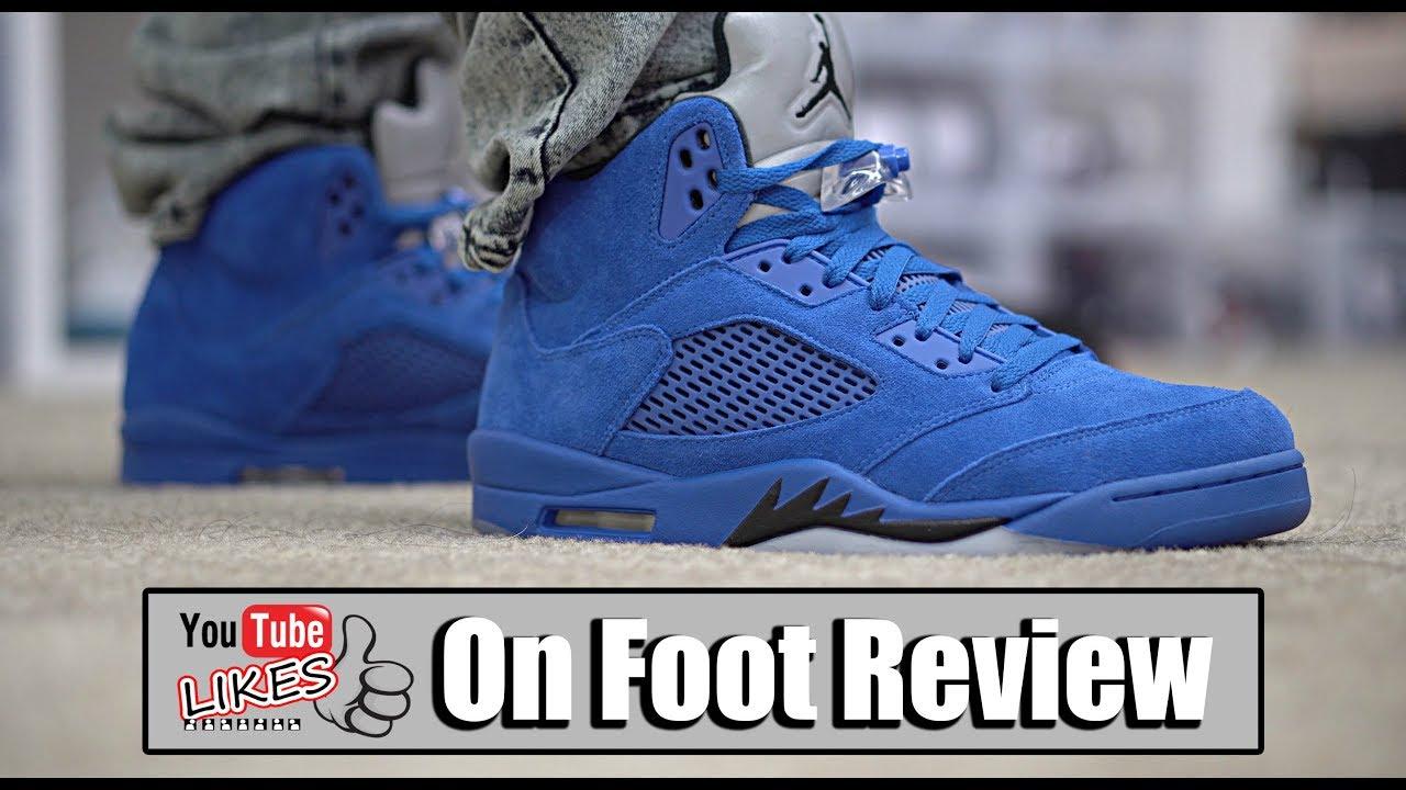 f5a942c4410768 Jordan 5 Blue Suede On Feet - YouTube