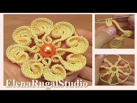 Нежный цветок с лепестками завитками Урок 123 Вязание крючком