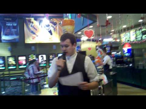 "Theater employee sings ""Baby"" by Bieber over lobby P.A."