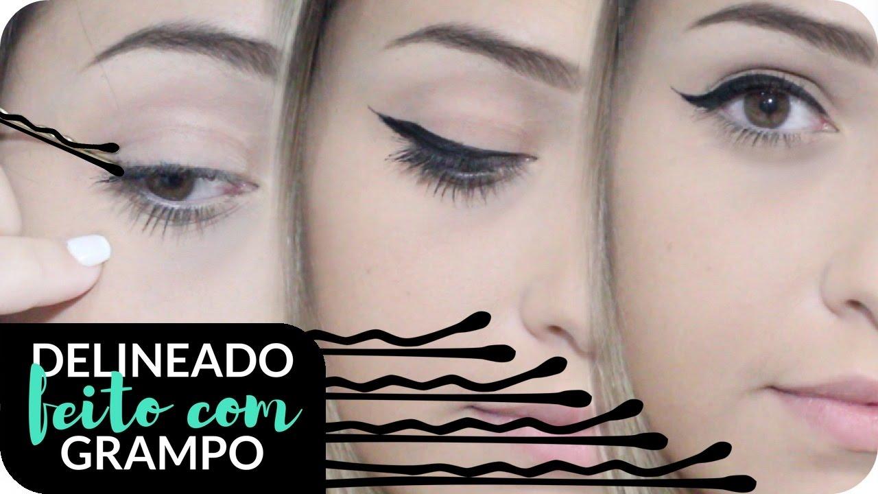 DELINEADO GATINHO PERFEITO C/ GRAMPO DE CABELO   TRUQUE
