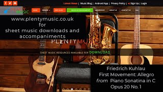 Kuhnau F. | First Movement Piano Sonatina in C Opus 20 No. 1