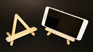 DIY : How to Make Mobile Holder/Stand with Icecream Sticks