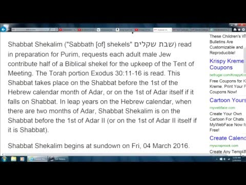 Shabbat Shekalim 04 March 2016 for Purim Queen Esther with Mordecai to prevent Jewish Holocaust