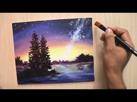 Acrylic painting of a beautiful night sky for beginners