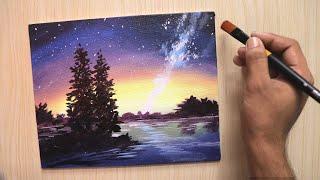 acrylic sky painting night beginners