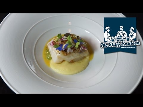 Michelin Starred Chef Simon Hulstone Prepares Cod With Parsnip Purée And Cucumber