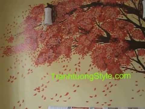 Tranh tường phòng ngủ hoa đỏ _ NVTroi