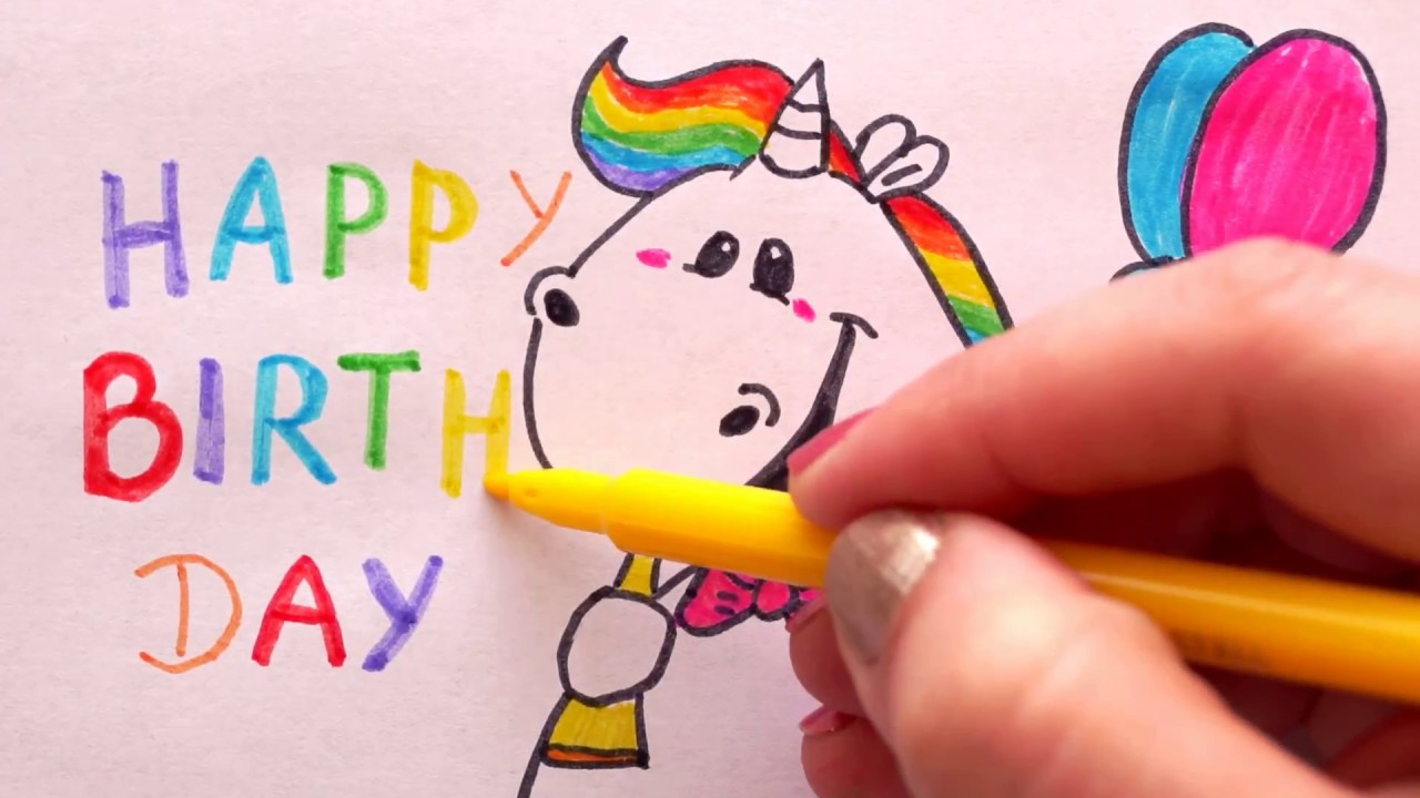 Pummel Einhorn Zeichnen Zum Geburtstag Malen Happy Birthday