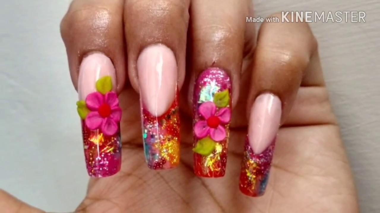 Uñas acrílicas rosa y naranja/COLABORACION/3D flor/ mucha decoración ...