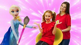 Видео куклы Эльза Холодное Сердце в Салоне Красоты Причёска и макияж Игры для девочек