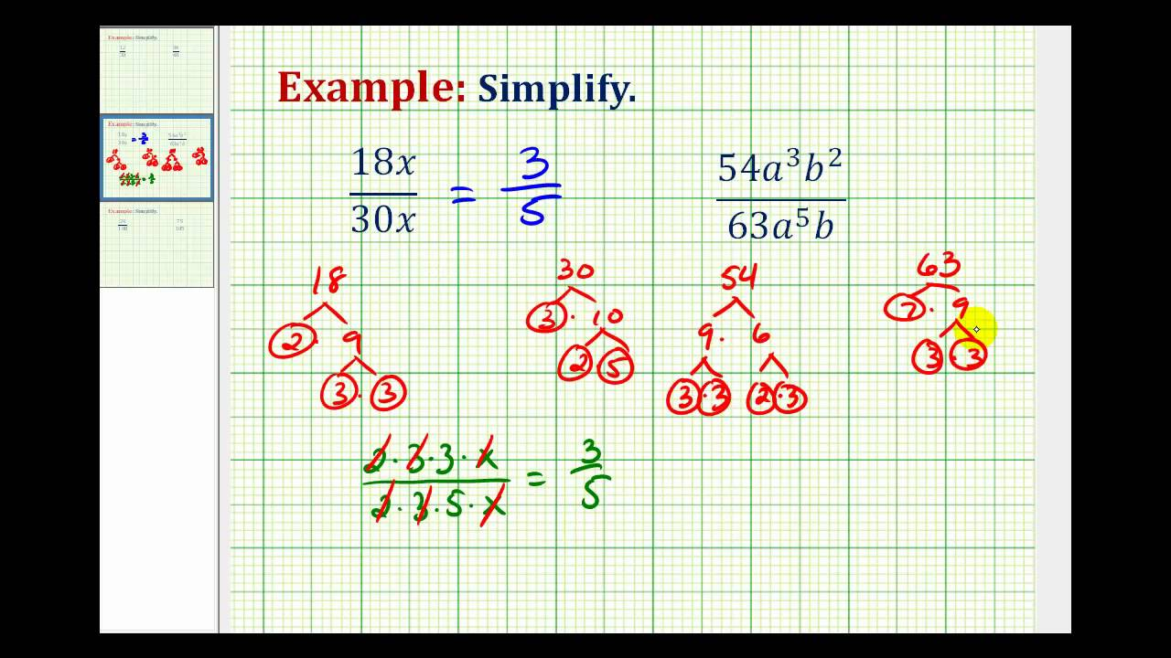 Ex 3: Simplify Fractions Containing Variables