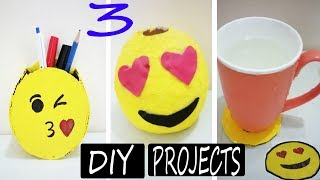 3 DIY Emoji Projects You Need To Try!-How To Make Emoji Cup Coasters,Pen Stand And Money Box