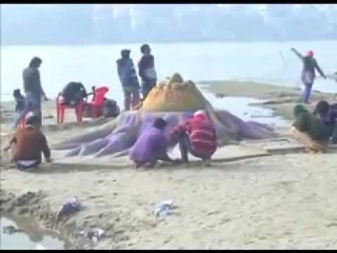Sand art sculpture on banks of Ganga in Varanasi