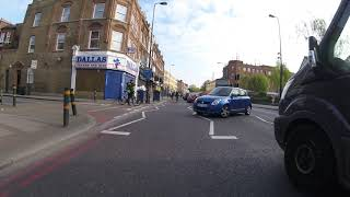 Cyclist knocked off in London bus lane
