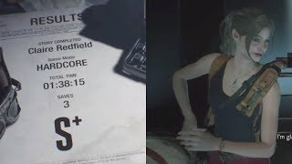 Resident Evil 2 Remake Claire A Hardcore S+ PS4 Speed Run in 1:38:15 Modified WR Route (2/2)