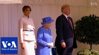 VIDEO: Queen Elizabeth welcomes Donald and Melania Trump to Windsor...