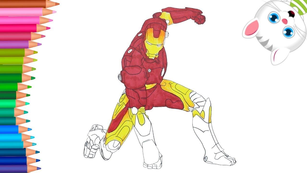 Superhéroe El Hombre De Hierro Iron Man Juego De Pintar Manos Pequeñas Dibujos Para Colorear