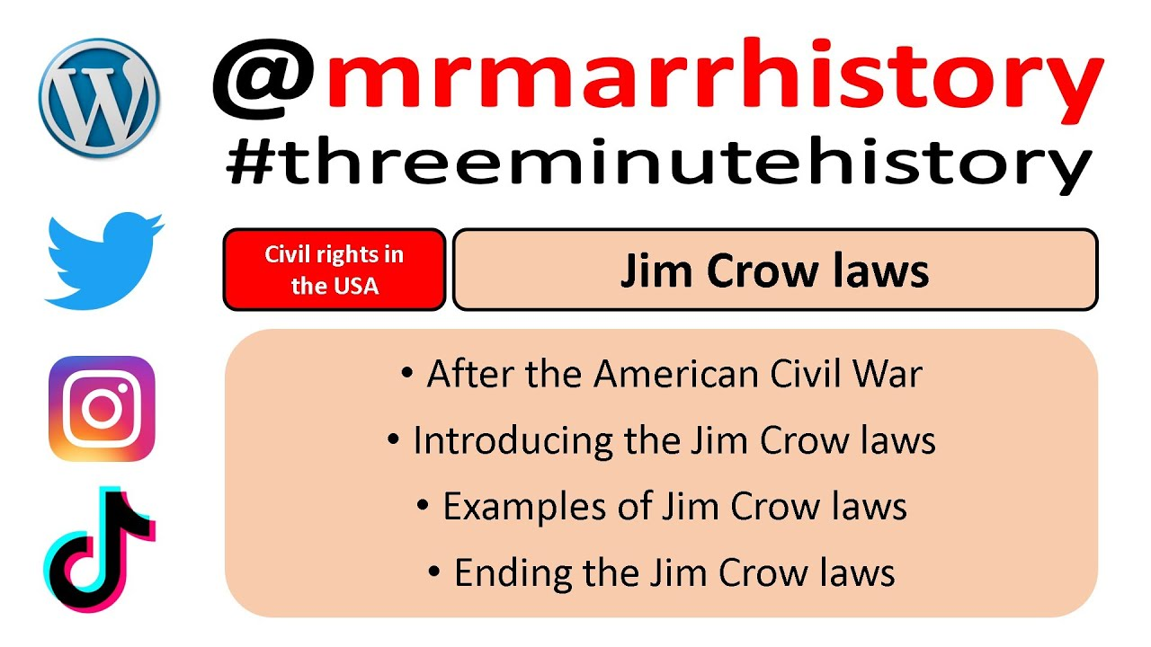 Three Minute History The Jim Crow Laws Youtube