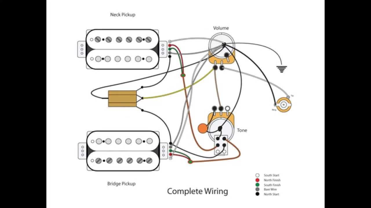 Dual Humbucker W 1 Vol And Tone Youtube Dimarzio P Bass Wiring Diagram