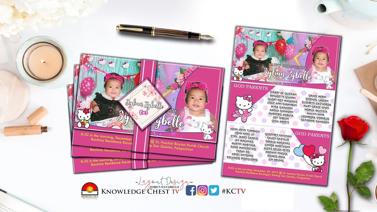 Hello Kitty Motif Invitation Card For Christening Birthday Cinelarawan Production