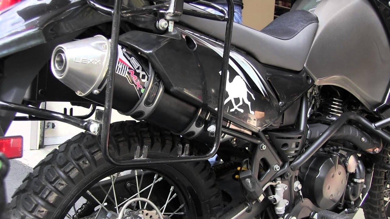 2012 kawasaki klr650 stock exhaust vs lexx mxe