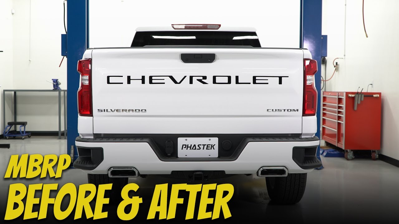2020 chevy silverado custom before after exhaust sounds with mbrp exhaust phastek