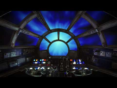 The Millennium Falcon flying through hyperspace with ambient noise