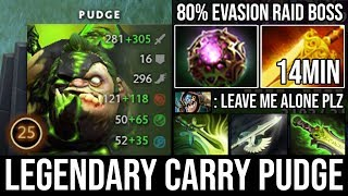 WTF First ITEM 14Min Radiance - Carry Mid Legendary Pudge 1Vs5 with Butterfly + 80% Evasion DotA 2