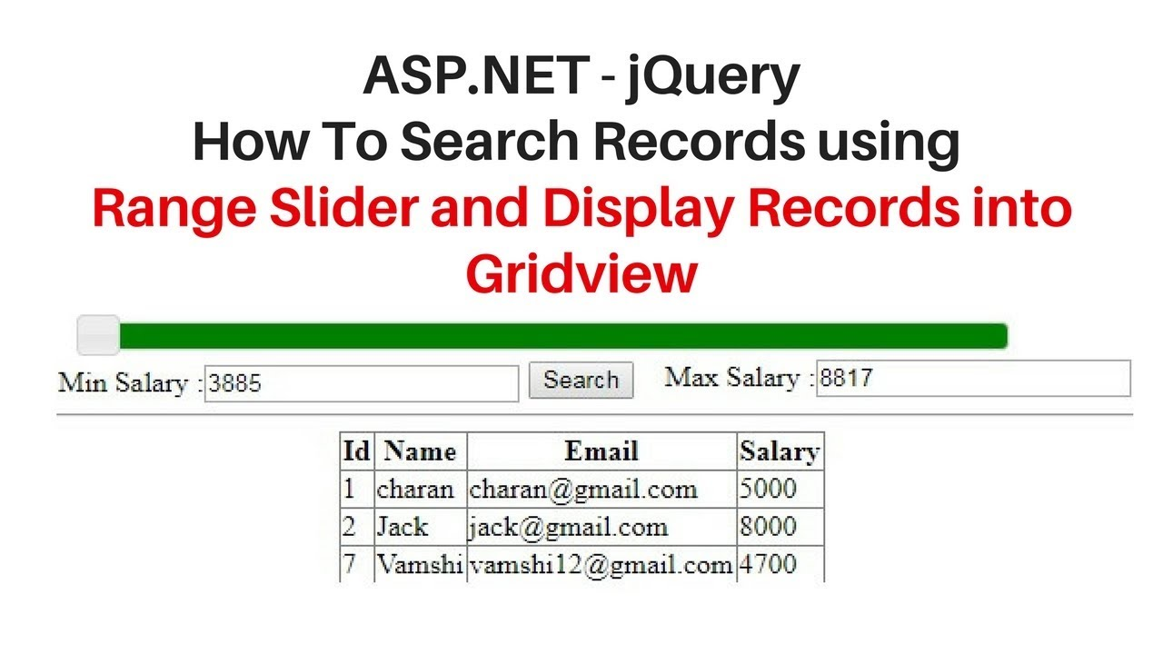 jquery UI (3 3 1) range slider tutorial search records in asp net
