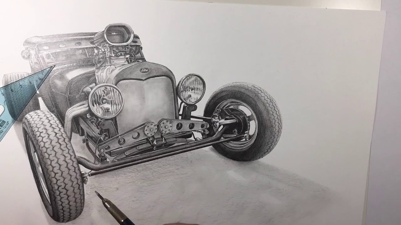 Speed Pencil Drawing Of Ford Hot Rod By Madmac Pinupartit
