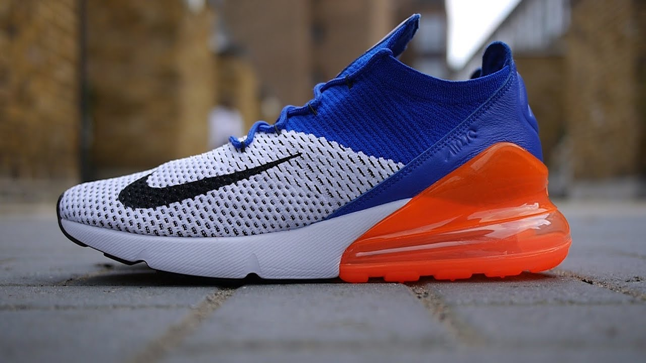 big sale b8e05 522b8 Nike Air Max 270 Flyknit OG Quick Look  On Feet (White, Racer Blue + Total  Crimson)