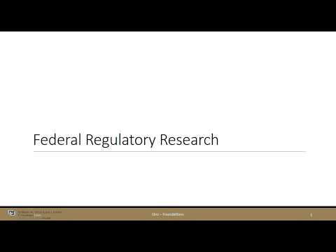 Federal Regulatory Research