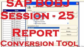 Report Conversion Tool - SAP Business Objects Tutorial (BOBJ) 4.0 - Session - 25
