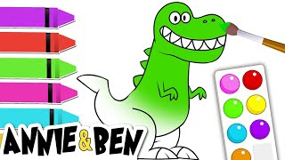 Let's Paint Dinosaurs | Fun Learning Videos For Kids By Annie & Ben