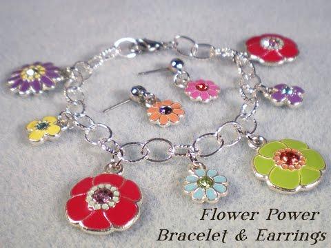 Flower Power - Child's Charm Bracelet and Earrings Set