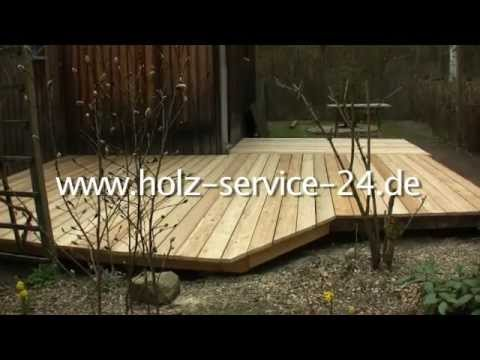 holz service bau einer holzterrasse mit terrassendielen aus sibirischer l rche youtube. Black Bedroom Furniture Sets. Home Design Ideas