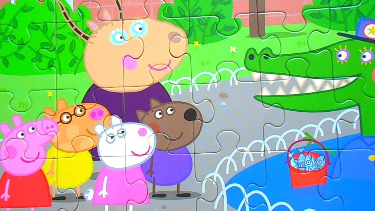 Свинка Пеппа и ее ДРУЗЬЯ в Зоопарке - собираем пазл для ...