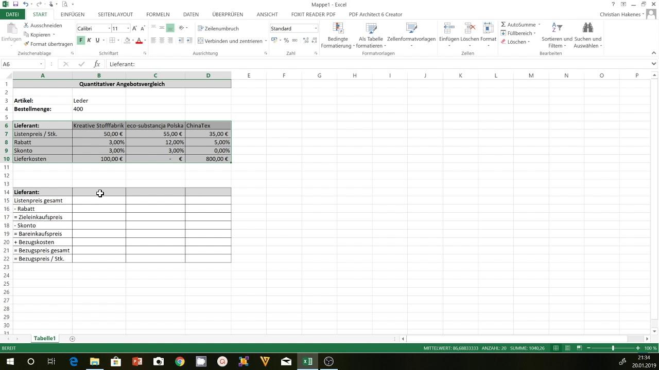 Angebotsvergleich Excel Eine Excel Vorlage Fur Den Quantitativen Angebotsvergleich Erstellen Youtube