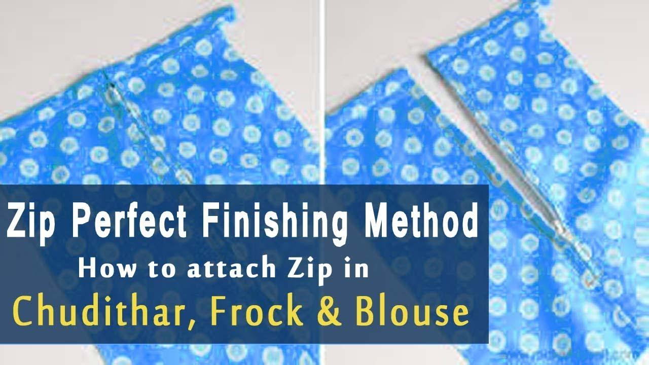 zip attach in tamil | How to Stitch Zip in kurti, Frock, Chudithar | Zipper  Attachment tutorial