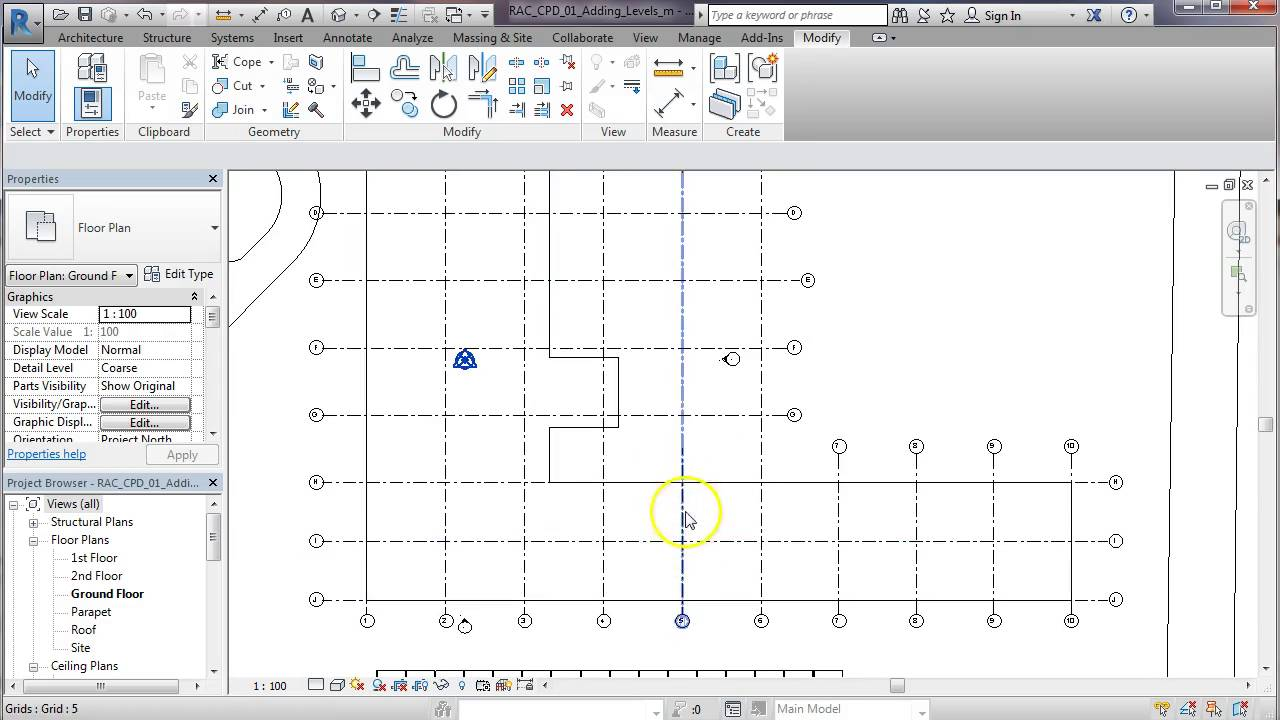 Drawing Lines In Revit : Grid line with gap in revit youtube