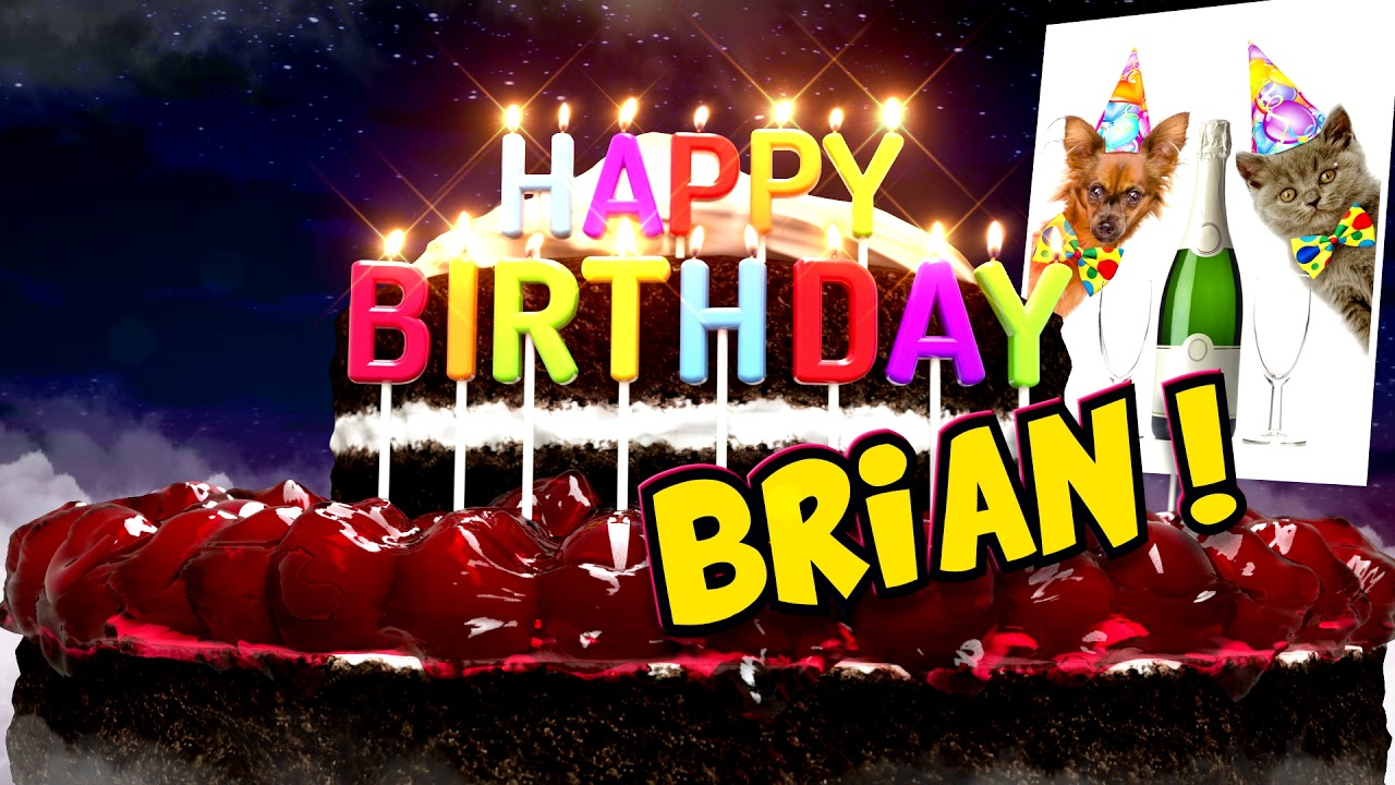 Happy Birthday Brian Cake And Champagne Modern Version Youtube