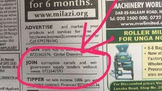 Shock as Kenyan advertises graft in national newspaper