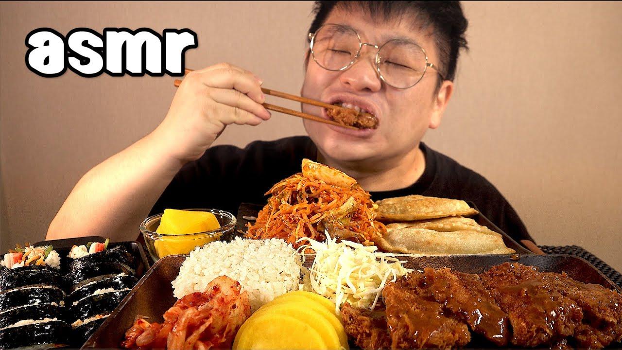 먹방창배tv 돈까스쫄면김밥군만두까지조합 맛사운드 레전드 Donksa porkcutlet Tcholmyon Kun mandu mukbang Legend koreanfood asmr