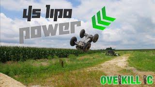BACKFLIP After BACKFLIP | 4s LiPo Traxxas Stampede 4x4 Gravel Pile Bash | Overkill RC