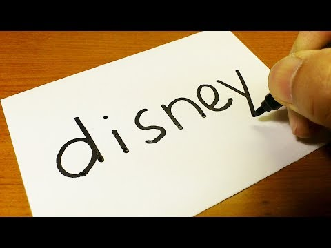 How To Turn Words Disney Into A Cartoon -  How To Draw Doodle Art On Paper