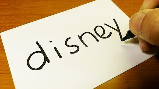 How to turn words Disney into a Cartoon for kids -  How to Draw doodle art on paper