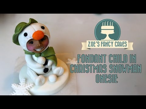 Fondant snowman christmas child in snowman onesie cute cake topper tutorial