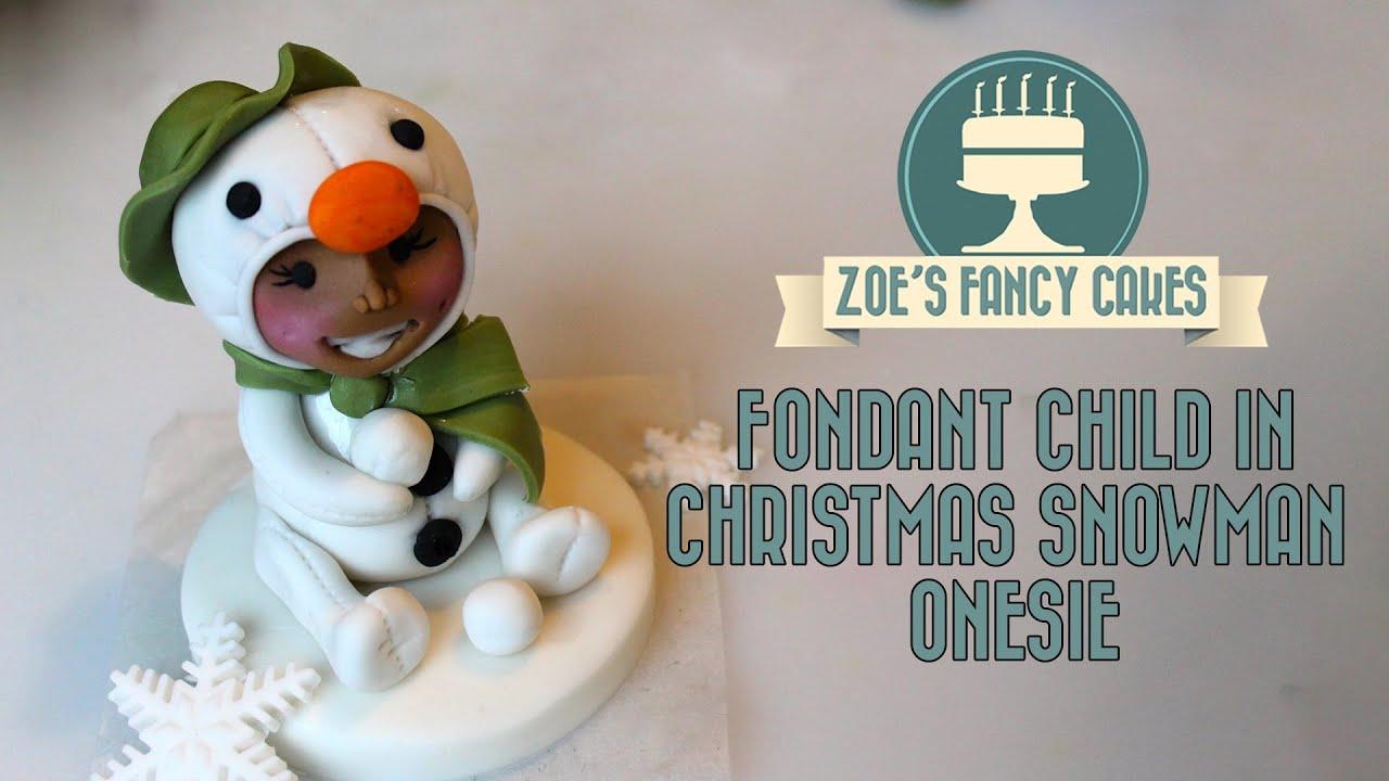 Fondant snowman christmas child in snowman onesie cute ...