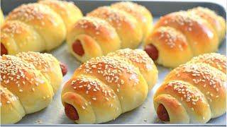 Bakery Style Sausage Buns Recipe Easy Homemade bread : Hot dog in a bun